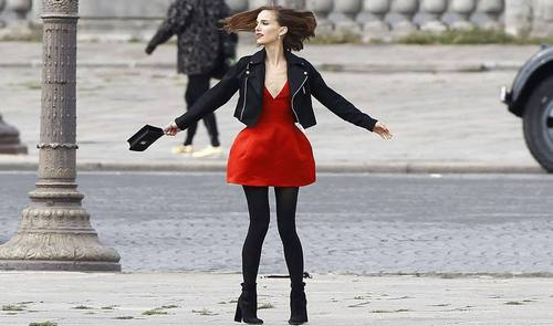 Natalie Portman twirling in Paris
