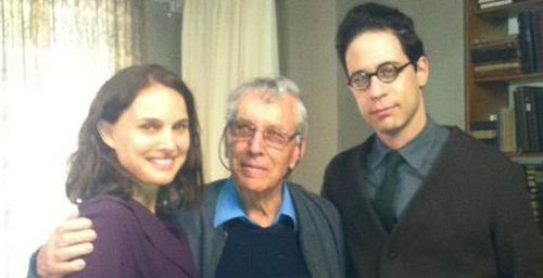 Natalie Portman on set with Amos Oz