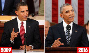 President Obama, then and now (L) President Barack Obama addresses a joint session of Congress on Tuesday, February 24, 2009, in the House of Representatives Chamber of the U.S. Capitol in Washington, DC. (Chuck Kennedy/MCT) (R) SOTU 2016